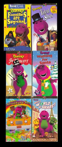 9780968365540: barney set 6 vhs :Barney Rhymes With Mother Goose, Barney - Barney in Outer Space, Rock With Barney (1992), All Aboard for Sharing (1992), Barney - Let's Pretend with Barney, Waiting for Santa