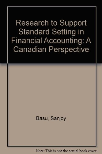 9780969110002: Research to Support Standard Setting in Financial Accounting: A Canadian Perspective