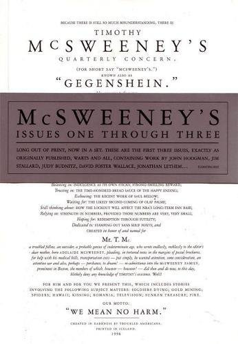 McSweeney's Issues One Through Three: Mcsweeney, Timothy