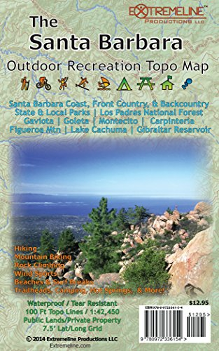 9780972336154: The Santa Barbara Outdoor Recreation Topo Map: Hiking, Mountain Biking, Rock Climbing, Wind Sports, Beaches & Surf Breaks, Trailheads, Camping, Hot ... State & Local Parks, Los Padres...