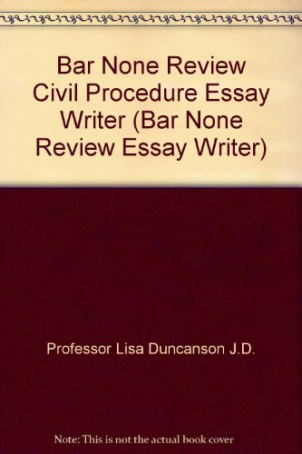 9780974720814: Bar None Review Civil Procedure Essay Writer (Bar None Review Essay Writer)