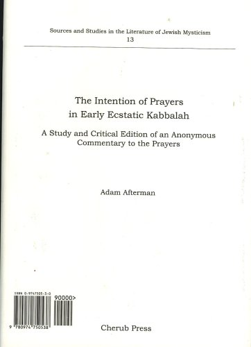 The Intention of Prayers in Early Ecstatic Kabbalah: Adam Afterman
