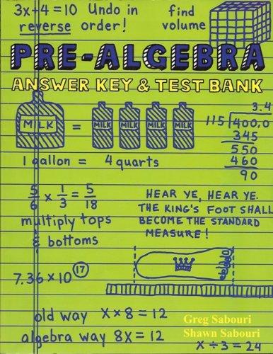 9780974903651: Pre-Algebra Answer Key & Test Bank