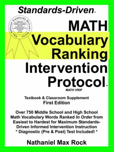 9780974939230: Standards-driven Math Vocabulary Ranking Intervention Protocol Vrip: Pre-algebra Through Geometry