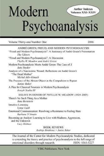 Modern Psychoanalysis, Volume 31, Number 1: Center for Modern