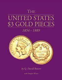 UNITED STATES $3 GOLD PIECES, 1854-1889.