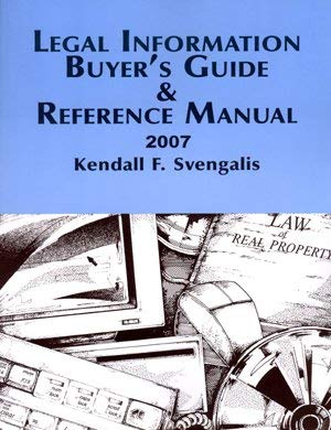 Legal Information Buyer's Guide & Reference Manual: Kendall F. Svengalis