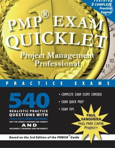 PMP Exam Quicklet: Project Management Professional Practice Exams: Paul Sanghera