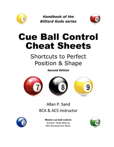 9780979345425: Cue Ball Control Cheat Sheets for Pool & Pocket Billiards
