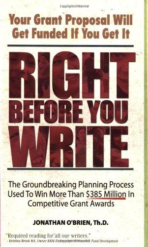 Right Before You Write: O'Brien ThD, Jonathan