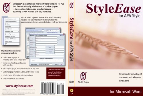9780982028544: Styleease for APA Style for Mac OS: Version 1.5