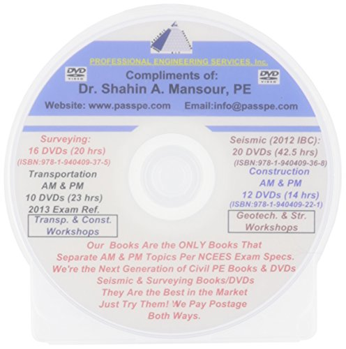 9780982372678: Professional Engineering Services (PES) Surveying for California Civil PE License DVDs Dr. Shahin A. Mansour