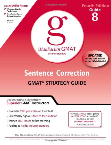 9780982423868: Sentence Correction GMAT Preparation Guide, 4th Edition (8 Guide Instructional Series)