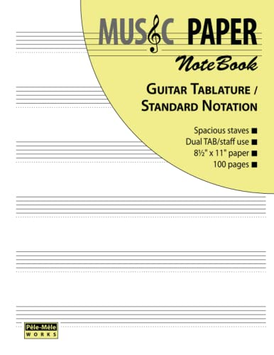 9780983049838: Music Paper Notebook - Guitar Tablature / Standard Notation