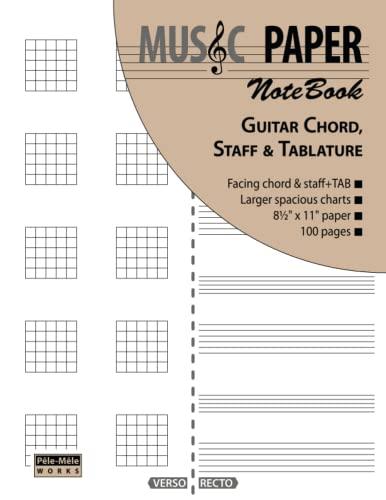 9780983049876: MUSIC PAPER NoteBook - Guitar Chord, Standard Staff & Tablature