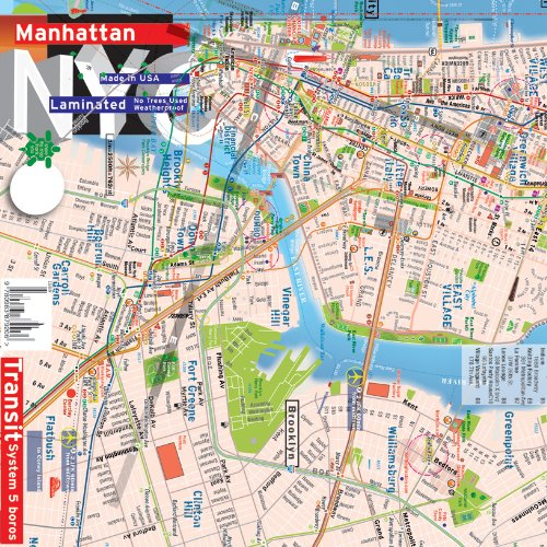 9780983879206: Plan de New York, Manhattan , Brooklyn Downtown, métro système complet [2013]