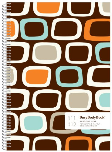 9780984426669: Aug '11 - Aug '12 ACADEMIC BusyBodyBook Personal & Family Weekly GRID Organizer - Chocolate
