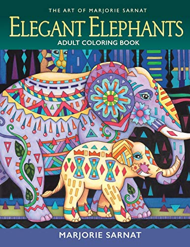 9780989318983: The Art of Marjorie Sarnat: Elegant Elephants Adult Coloring book