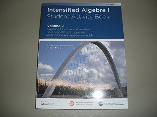 Intensified Algebra 1 Student Activity Book Volume: Diane Briars, Kathi