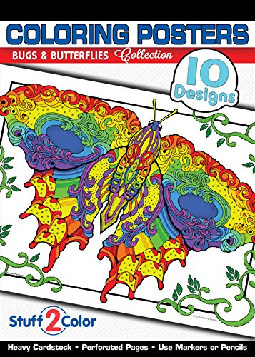 9780990867876: Bugs & Butterflies - Premium Coloring Poster Tablet Book (10 Designs)