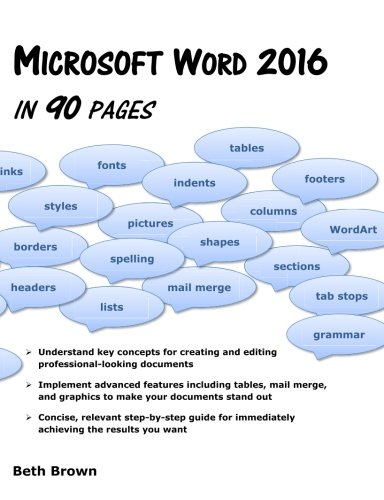 Microsoft Word 2016 In 90 Pages: Beth Brown