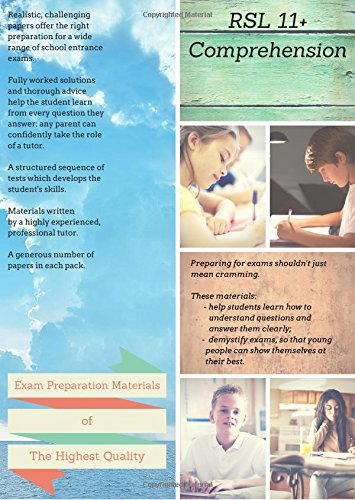 9780993467400: RSL 11+ Comprehension: Practice Papers with Detailed Answers & Explanations for 11 Plus / KS2 English Volume 1