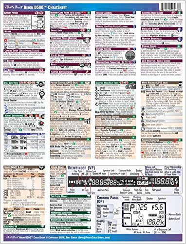 9780996173094 Nikon D500 Digital Camera Cheatsheet Short Version