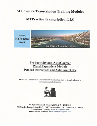 9780996224123: MTPractice Transcription Training Modules - Productivity and AutoCorrect Word Expanders Module with 9,400 +/- Expansion Code Macros on USB Flash Drive