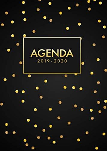 9781073143528: Agenda 2019/2020: Organiza tu día - Agenda semanal - Julio 2019 a Diciembre 2020- español - diseño de lunares - color negro