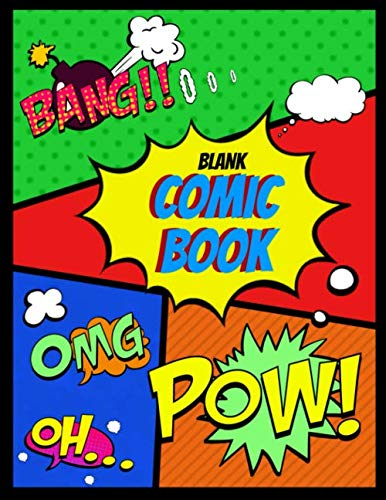 """9781077395305: Blank Comic Book: Draw Your Own Comics Create Your Own Cartoon Book Journal Sketch Notebook Large Glossy Cover 8.5"""" x 11 Variety of Templates 120 Pages For Comic Book Drawing"""