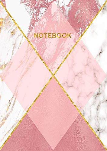 9781097572564: Notebook: A4 Size College Ruled Gold Rose Pink & White Marble Patterned Design Cover