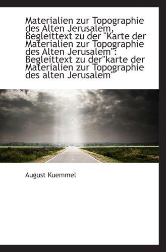 9781103775453: Materialien zur Topographie des Alten Jerusalem, Begleittext zu der Karte der Materialien zur Topogr