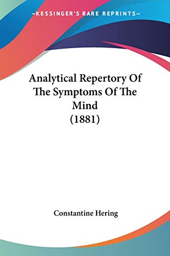 9781104023423: Analytical Repertory of the Symptoms of the Mind