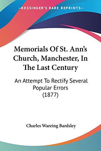 Memorials Of St. Ann's Church, Manchester, In