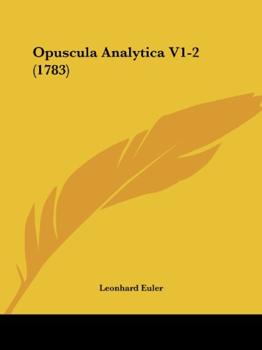 9781104303662: Opuscula Analytica V1-2 (1783) (Latin Edition)