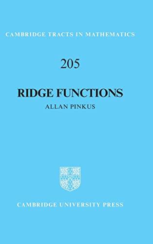 9781107124394: Ridge Functions (Cambridge Tracts in Mathematics)
