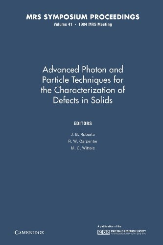 Advanced Photon and Particle Techniques for the Characterization of Defects in Solids Volume 41 MRS...