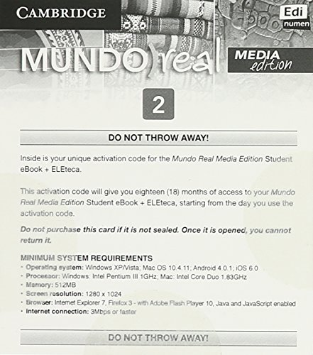 Mundo Real Media Edition Level 2 eBook for Student Plus Eleteca Access Activation Card: Celia Meana...