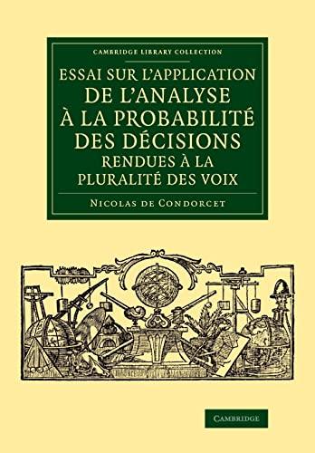 Essai sur l'application de l'analyse ? la: Condorcet, Nicolas de