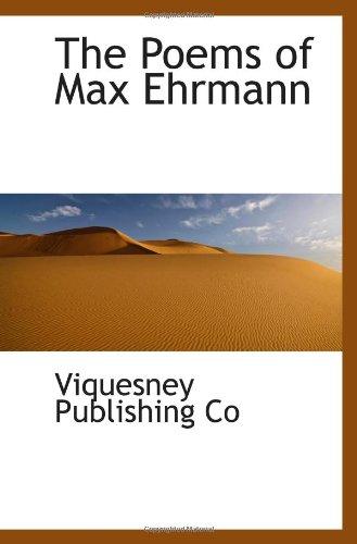 9781110575763: The Poems of Max Ehrmann