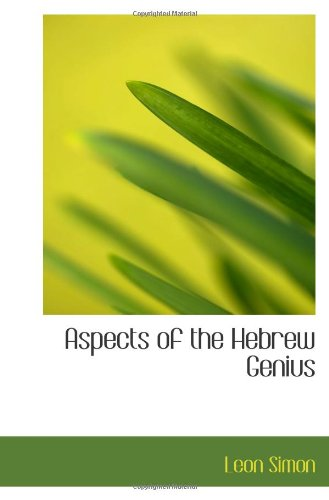 9781110826568: Aspects of the Hebrew Genius
