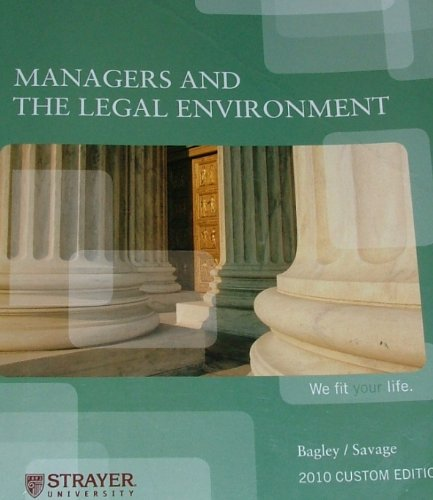 9781111064020: Managers and Legal Environment