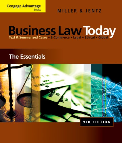 9781111081386: Bundle: Cengage Advantage Books: Business Law Today: The Essentials, 9th + WebTutor(TM) on WebCT(TM) 1-Semester Printed Access Card