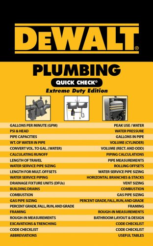 9781111135881: DEWALT Plumbing Quick Check: Extreme Duty Edition (DEWALT Series)