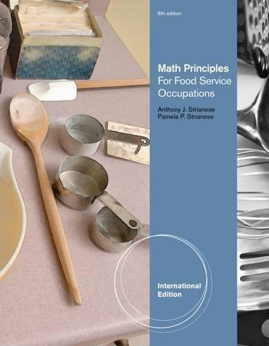 9781111307714: Math Principles for Food Service Occupations, International Edition