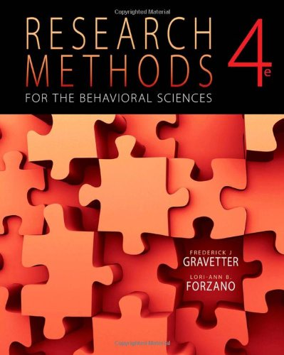 9781111342258: Research Methods for the Behavioral Sciences, 4th Edition