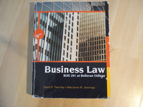 Business Law Bus 201 At Bellevue College: David P Twomey Marianne M Jennings