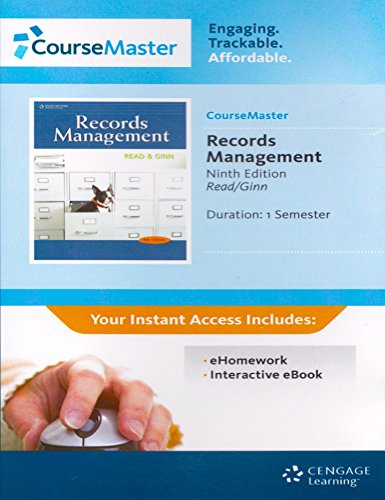 9781111738365: Records Management ebook/eHomework Access card