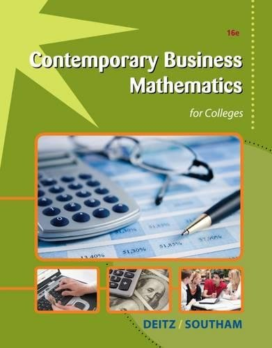 Contemporary Business Mathematics for Colleges (Mixed media product): James E. Deitz, James L. ...