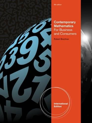 9781111826758: Contemporary Mathematics for Business and Consumers, International Edition (with Printed Access Card)